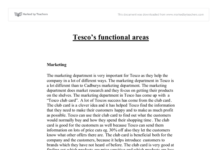 tescos functional areas
