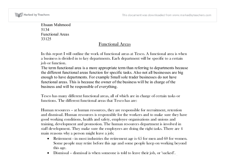 Tesco – Functional Areas Essay
