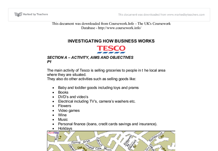 tesco aims and objectives essay Type of organisational structure and purpose of tesco and oxfam essay  to be  highly trained and committed to meet the goals of the company they work for to.