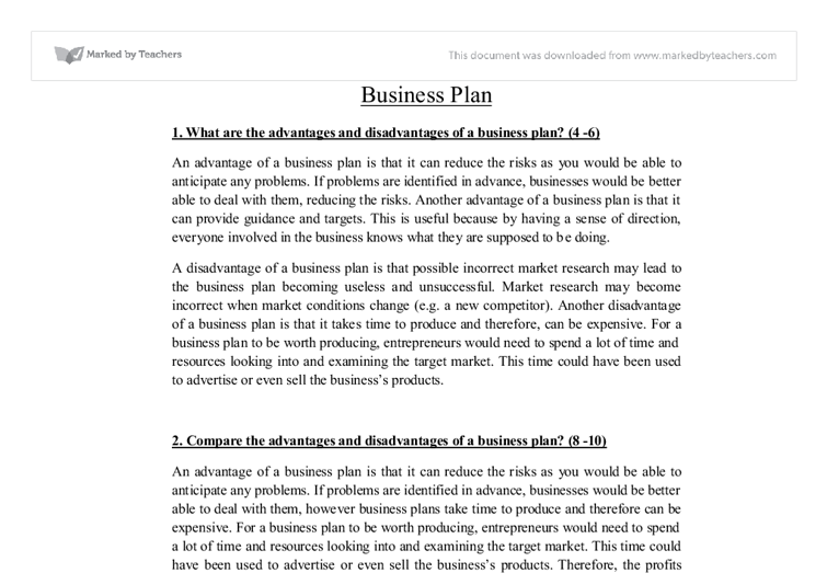 Disadvantages business plan