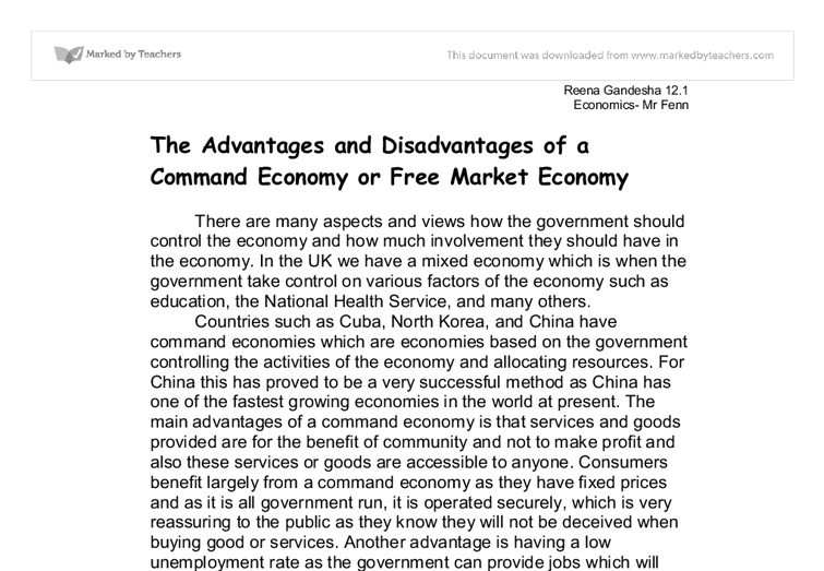 ideal mixed economy essay