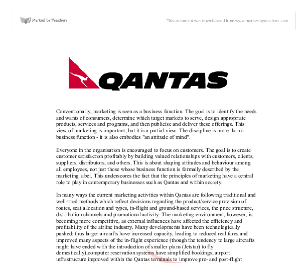 Business report for Qantas Essay Sample