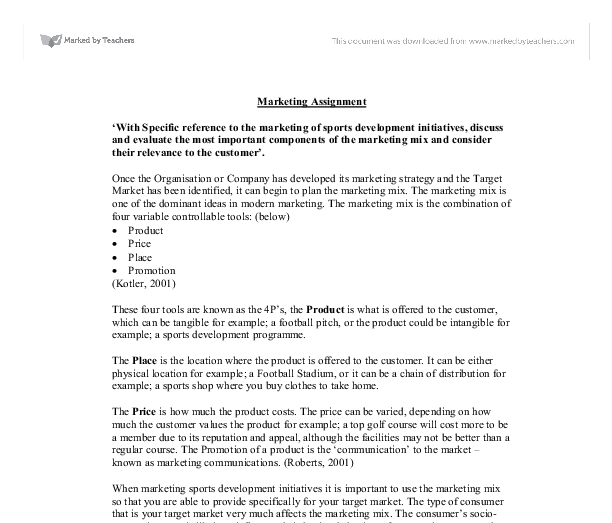 marketing mix example essays