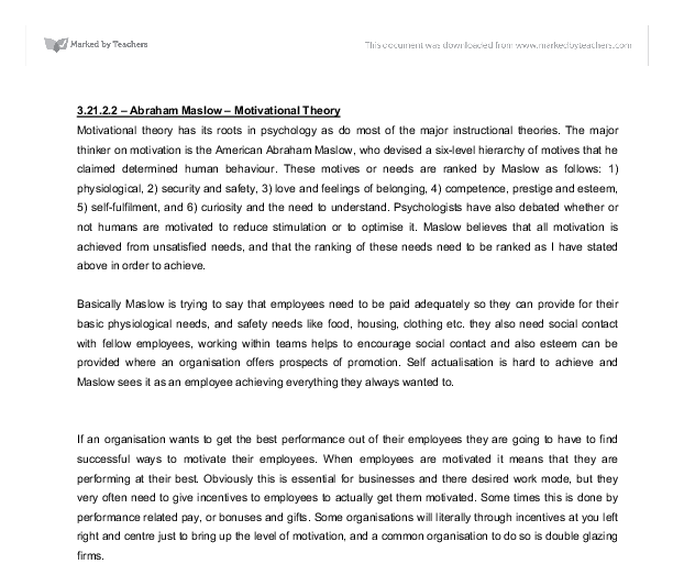 an essay onvrooms motivational theory on nurses performance Barriers to nursing job motivation this study was situated within the grounded theory method organizational performance is abundantly clear nurses.