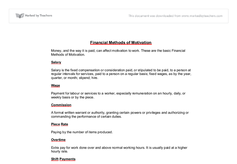 standard life - motivation essay - GCSE Business Studies - Marked by ...