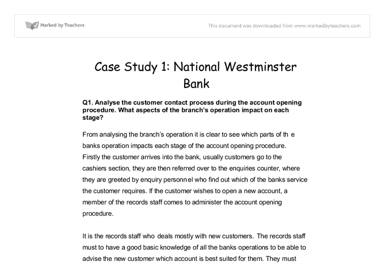national westminster bank essay National westminster bank , commonly known as natwest , is a large retail and commercial bank in the united kingdom it was established in 1968 by the merger of.