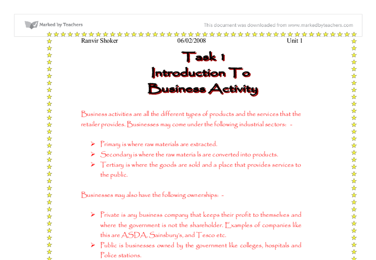 business studies gcse coursework introduction The gcse in business is an introduction to how businesses work – perhaps you   unit 2 is controlled assessment (similar to coursework – maximum 9 hours.