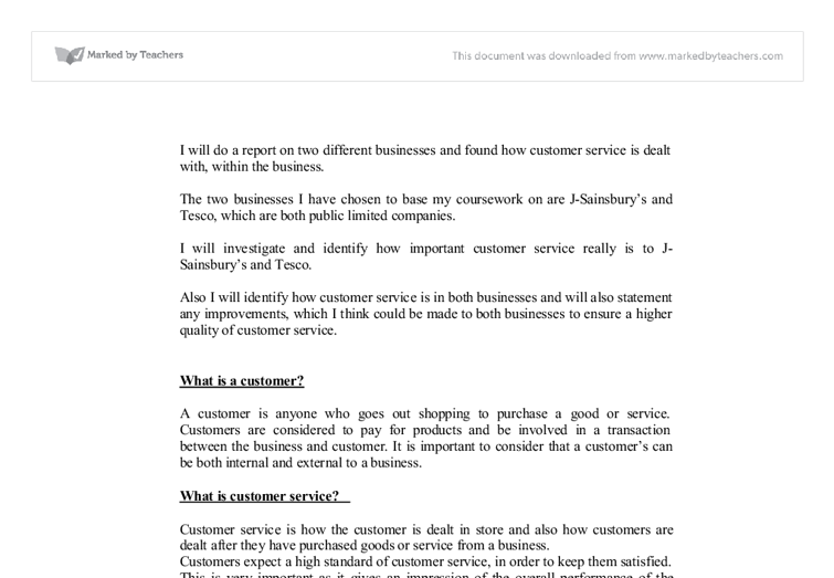 buisness customer service essay