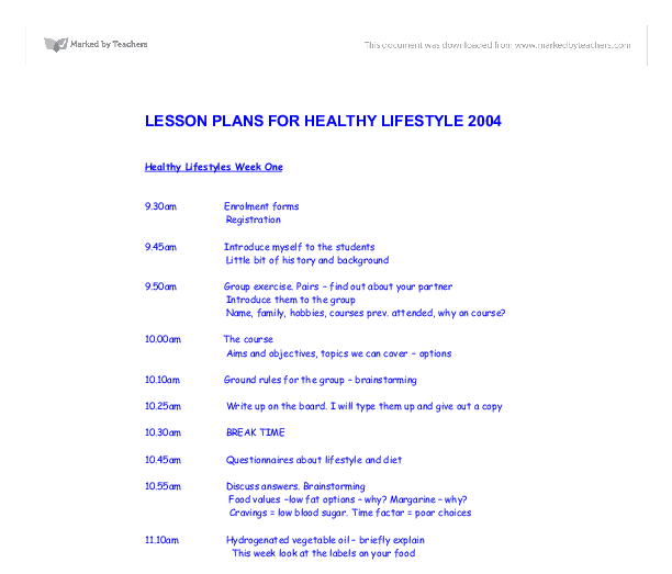 Lesson plans for healthy lifestyle 2004 gcse design - Design and technology lesson plans ...