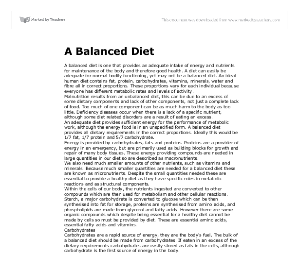 Essay about healthy diet