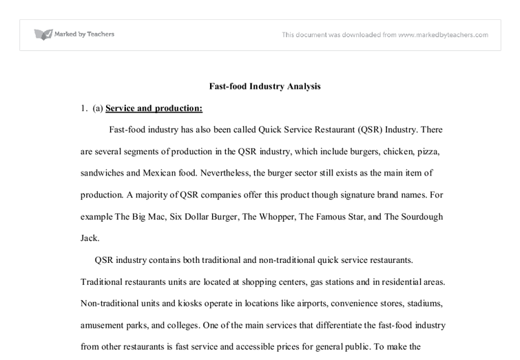 Fast food industry essay