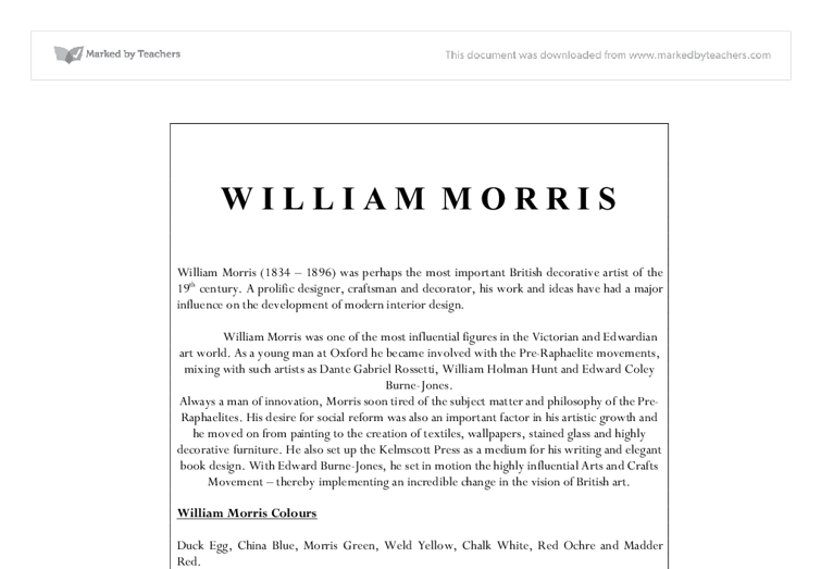 william morris essay help Ask our experts to get writing help submit your essay for analysis  william morris, who was a 19th-century english poet, translator, and creative genius, was a .