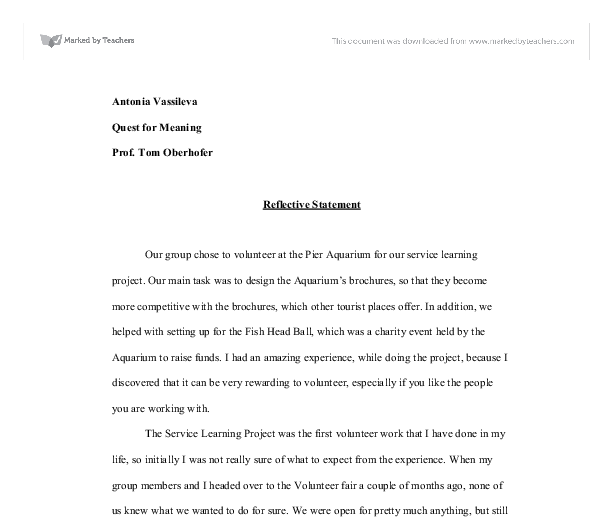 reflection on service learning essay Buy homework journal service learning reflection essay thesis of do kids do homework sims 2.