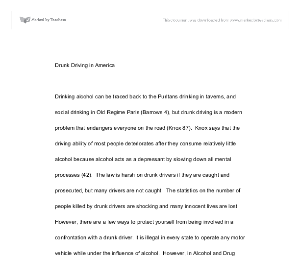 drunk driving essay