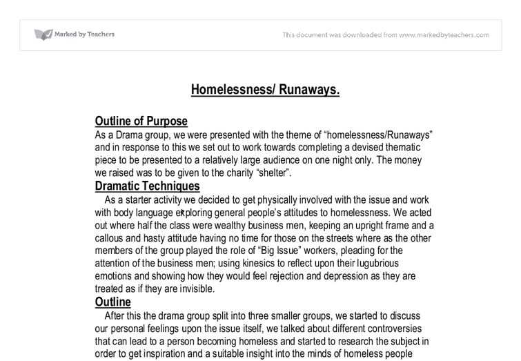 Homelessness production essay - GCSE Drama - Marked by Teachers.com