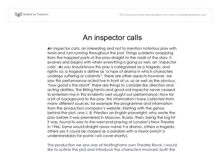 Essay on an inspector calls by jb priestley