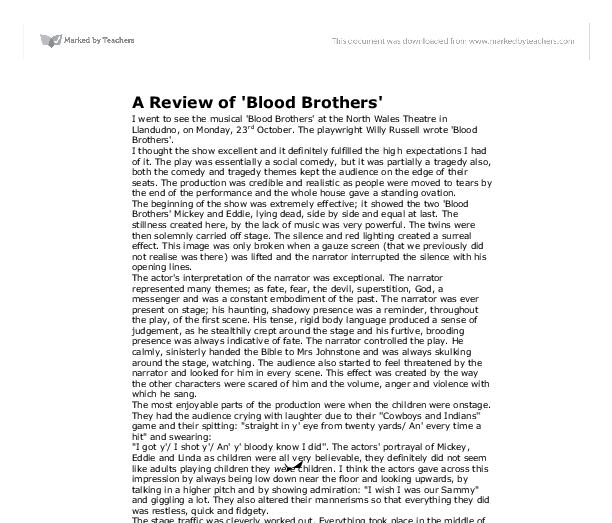 drama essay blood brothers Blood brothers is an emotionally true performance that grips from the start rating :    .