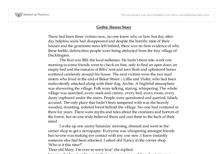 gothic horror story gcse drama marked by teachers com document image preview