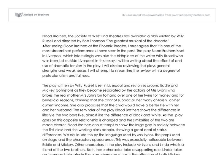 BLOOD BROTHERS GCSE DRAMA ESSAY