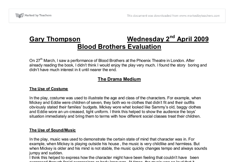 gcse drama essay blood brothers