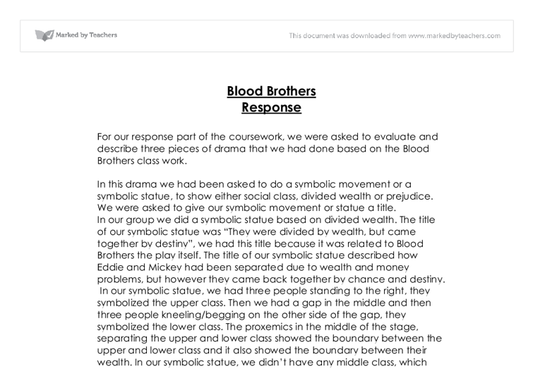drama essays blood brothers