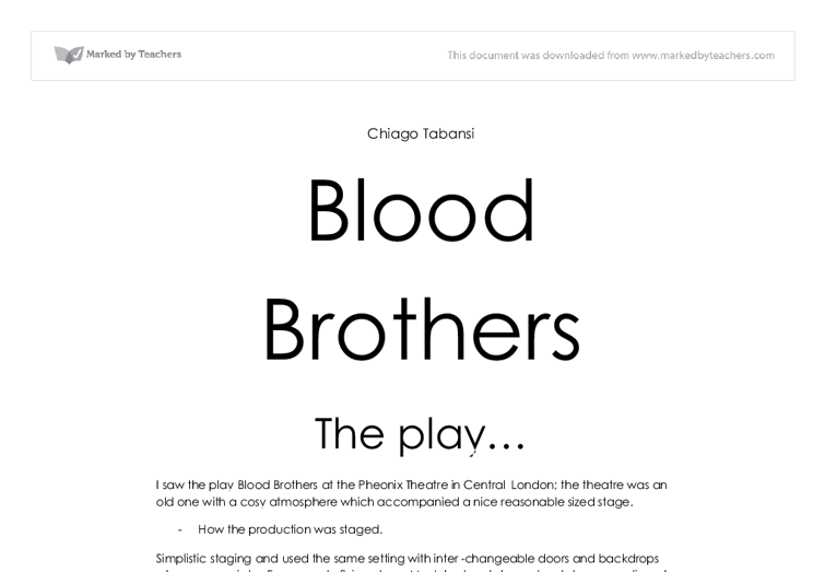 Blood Brothers Quiz