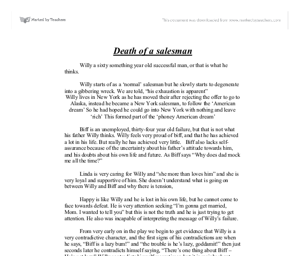 Death of a Salesman - plot summary - GCSE Drama - Marked by ...