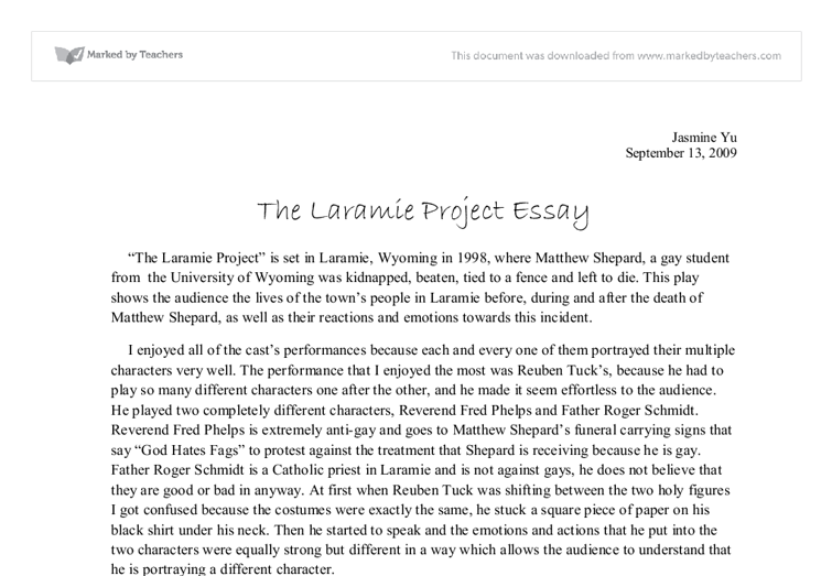 the laramie project gcse drama marked by teachers com document image preview