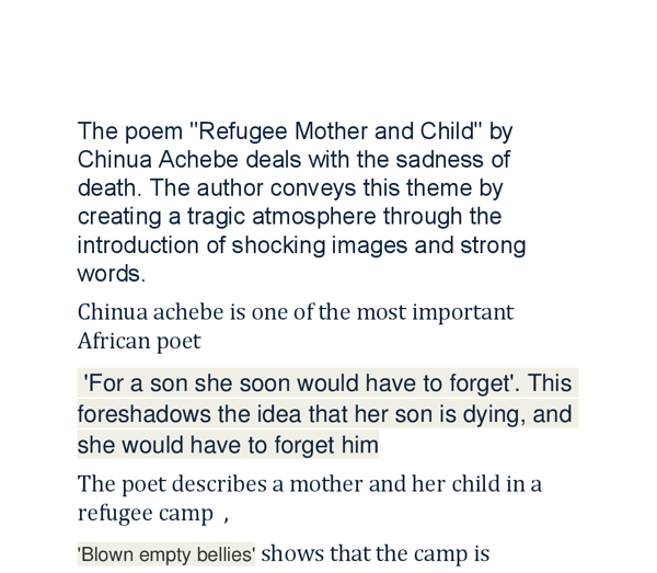 analysis of refugee mother and child essay Hide and seek by vernon scanell | analysis  between her mother and a child in a refugee camp  writer of this essay and no longer wish to have the essay .