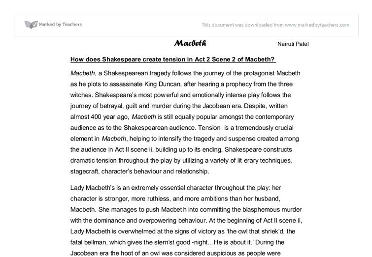 how does shakespeare create tension in act scene of macbeth  document image preview