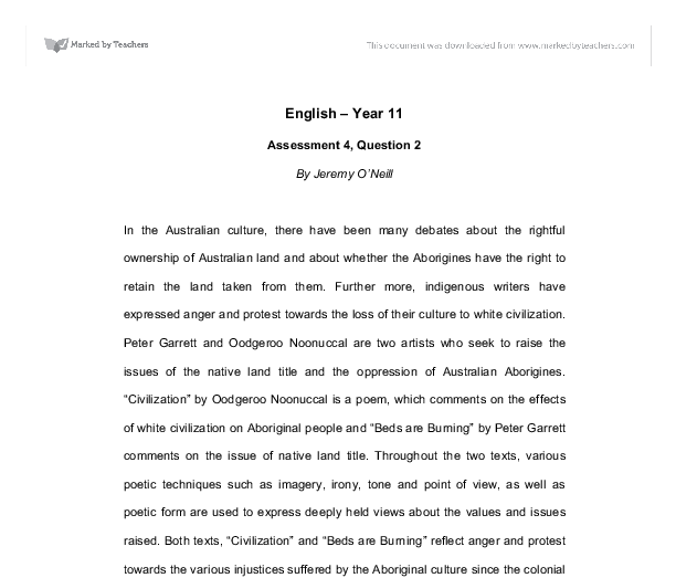 australian poets oodgeroo noonuccal essay Nina tran, 9g oodgeroo noonuccal, an australian poet, uses her work to convey  the aspects of australian experience  oodgeroo uses language and poetic  techniques such as colloquial language,  distinctly visual - english essay.