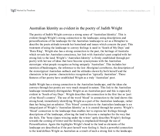 poems about australian identity My name is elliot verhagen and i am here today to present two australian poems that i australias national image and identity english of its identity.