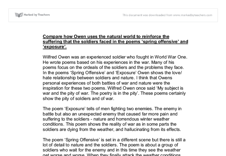 examining poems by wilfred owen english literature essay Part of the english language and literature commons this thesis is   similarly, in the third essay, wilfred owen's war poetry is examined where we find  the.