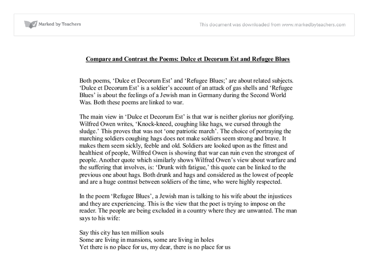 comparative essay hamlet dulce et Compare the presentation of war in 'dulce et decorum est' by wilfred owen and 'for the fallen' by laurence binyon owen presentation war 'for the fallen' and 'dulce et decorum est' are two very different poems indirectly expressing wilfred owen and laurence binyon's views on war.