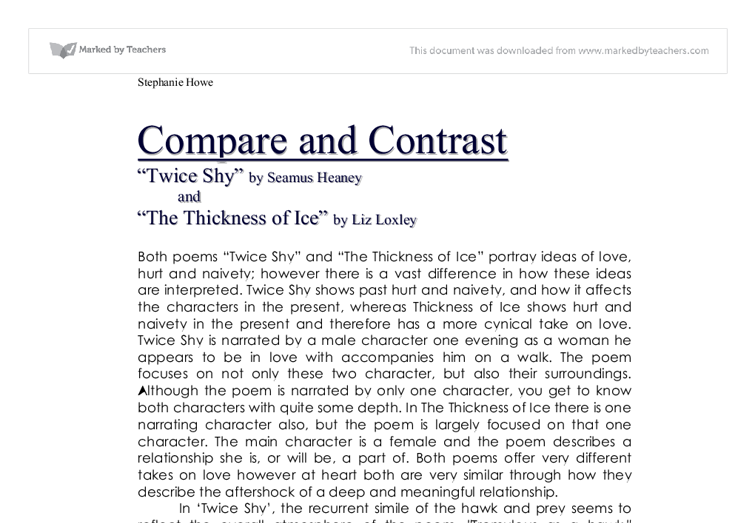 poetry comparison twice shy thickness of ice gcse english  document image preview