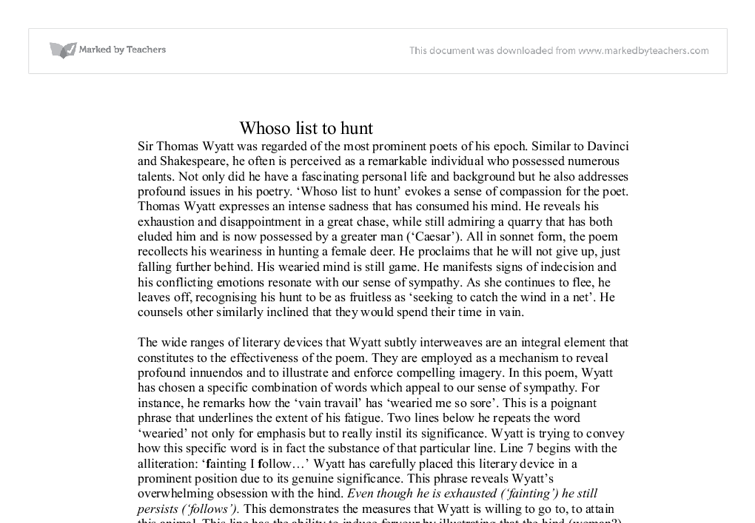 essays on whoso list to hunt