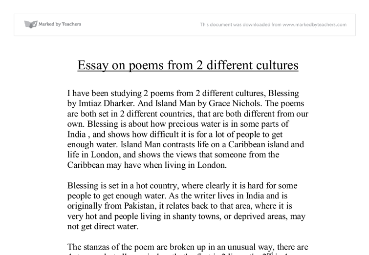 essay on poems from different cultures blessing and island man document image preview