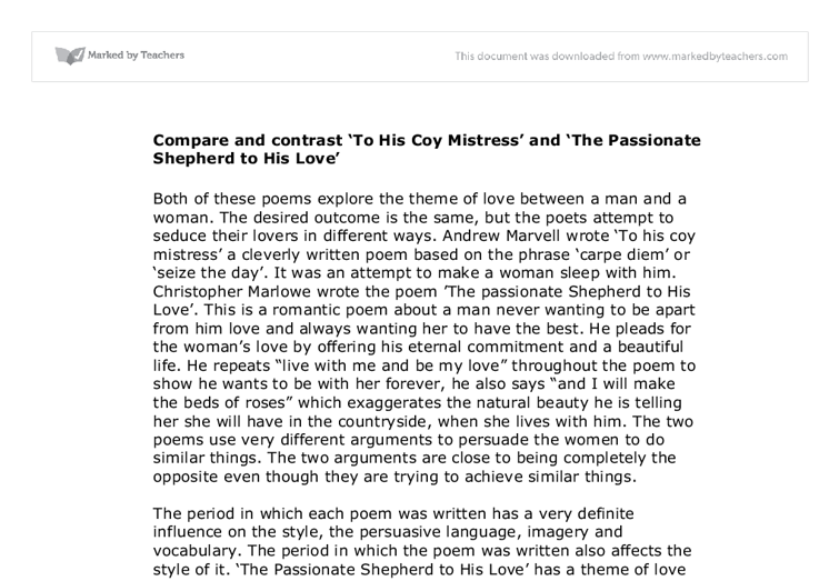 To his coy mistress essay