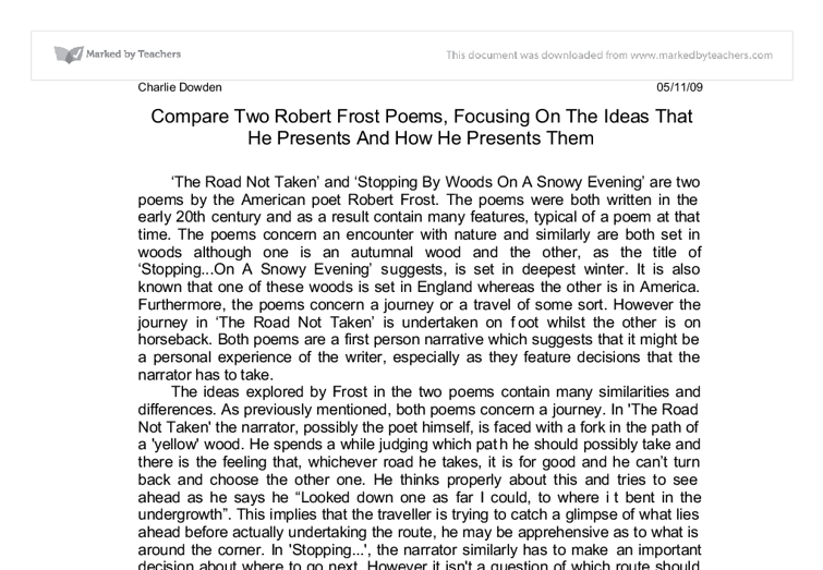 compare two robert frost poems the road not taken stopping by  document image preview