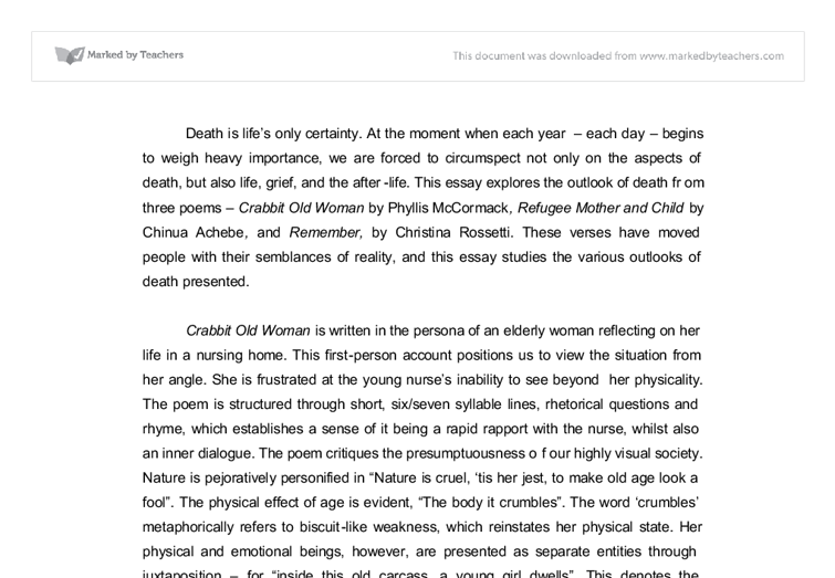 compare how death is presented in three poems in the anthology essay Free essay: comparing poems a parental ode to my son aged three compare and contrast 3 poems from aqa gcse anthology essay on comparing three poems on love.