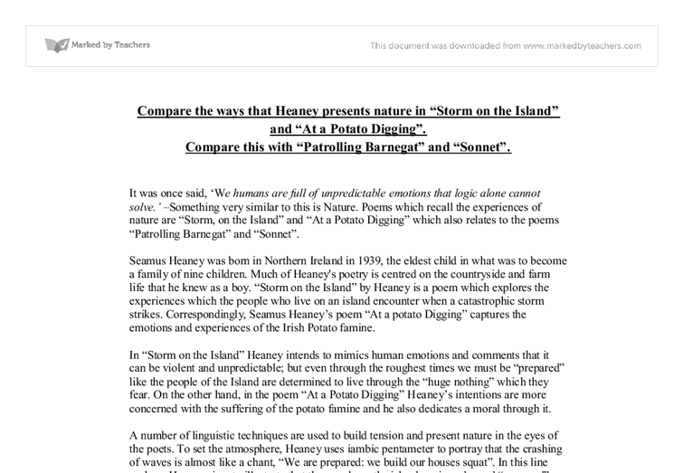 compare the ways that heaney presents nature in storm on the  document image preview