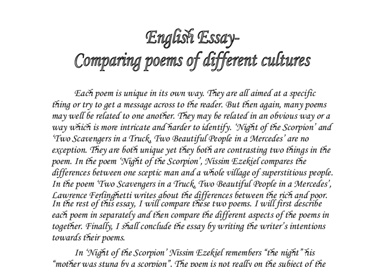 essay comparing poems from different cultures However the i is different for each poem you just finished sample compare and contrast essay - langston hughes sample compare and contrast essay.