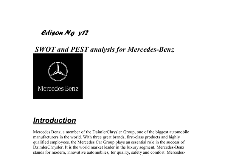 daimler swot analysis essay Swot analysis of mercedes benz essay swot analysis of mercedes benz essay daimler benz is a german international company which is focused on manufacturing.