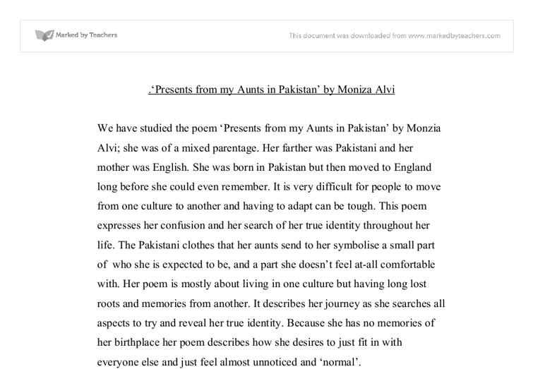 presents from my aunts in by moniza alvi gcse english  document image preview