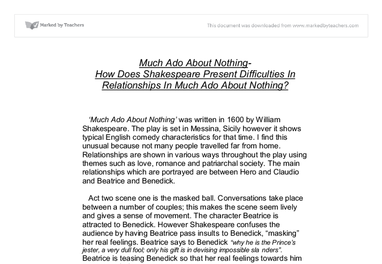much ado about nothing essays beatrice and benedick Critical esay on oleanna much ado about nothing essay  in 1600 much ado about nothing essay: beatrice, benedick,  ado about nothing literature essays are.