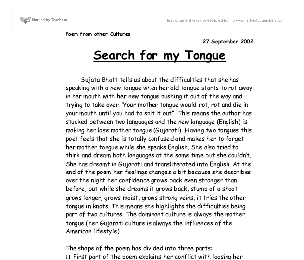 search for my tongue sujata bhatt essay