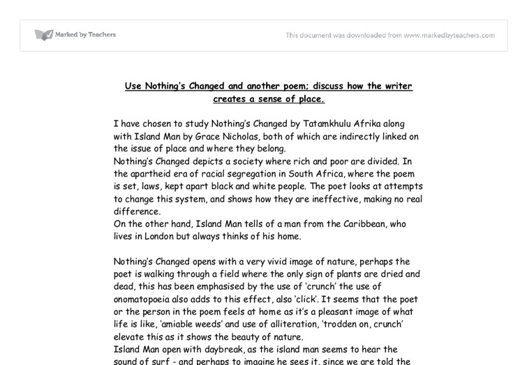 nothings changed essay Much ado about nothing has a very he has now changed his mind and if you are the original writer of this essay and no longer wish to have the.