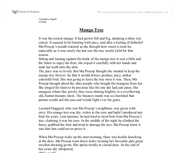 mango tree short essay