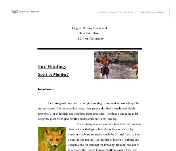 English original writing coursework
