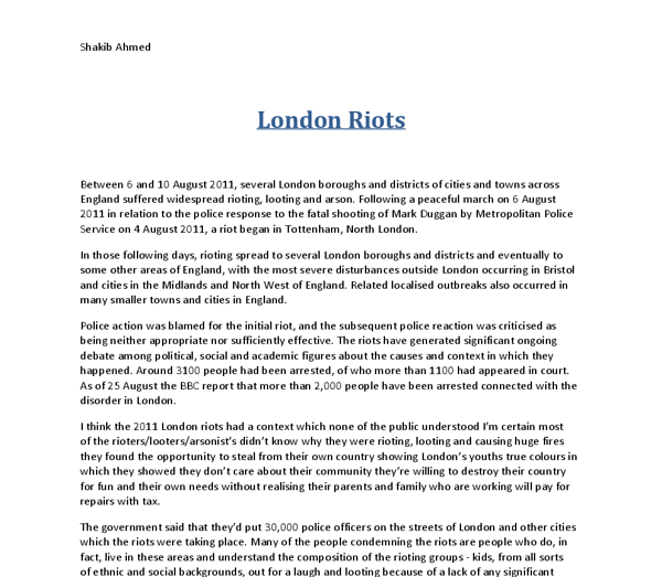london riots essay example The detroit riots in the following paper i am going to discuss the main differences and give examples of these terms essay on london riots.